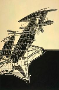 Lebbeus Woods. Aerial Paris. 1989. Copic Marker und Bleistift auf Transparentpapier auf Karton, 815 × 507 mm © Estate of Lebbeus Woods