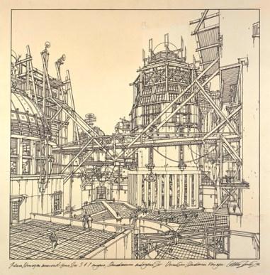 Lebbeus Woods. A-City: AC-4, Sector 1576N. 1986. Filzstift auf Zeichenpapier auf Karton, 687 × 687 mm © Estate of Lebbeus Woods