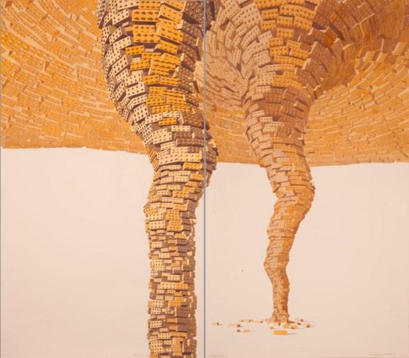 Los Carpinteros Tornado Amarillo Doble (Díptico), 2011. Aquarell und Bleistift auf Papier, Diptychon, Thyssen-Bornemisza Art Contemporary, Wien © Los Carpinteros.