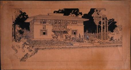 Frank Lloyd Wright. Residenz in Oak Park, Illinois, 1907, Feder, Pinsel, Tinte auf Papier © VG Bild-Kunst, Bonn 2015