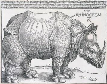 Albrecht Dürer: Das Rhinozeros, 1515. Holzschnitt, 24,8 x 31,7 cm. © bpk / Staatliche Museen zu Berlin, Kupferstichkabinett / Jörg P. Anders