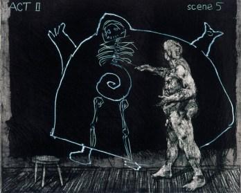 William Kentridge: Blatt aus: Ubu Tells the Truth, 1996/97. Radierung, 25 x 30 cm (Bild), 36 x 50 cm (Blatt). © William Kentridge
