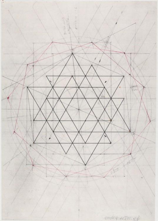 Wolfram Erber, o.T. , 1972, Graphit und Pigmenttusche, Blattmaß 19,5 x 28,5 cm.