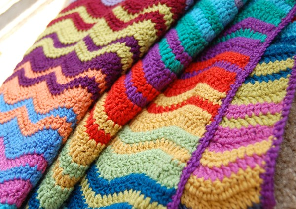 Crochet Patterns Ripple Blanket : Crochet Ripple Afghan