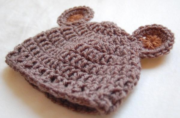 Free Crochet Bear Ear Hat Pattern : Newborn Bear Hat Crochet Pattern & Crochet Baby Bear Hat