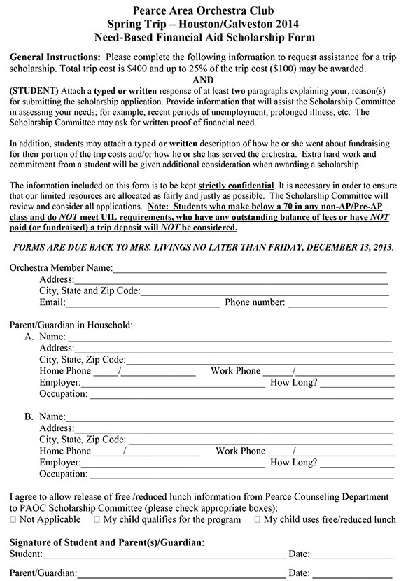 2014 Trip Scholarship Application Form \u2013 JJ Pearce HS Orchestras