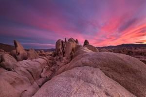 Sunset near Arch Rock in Joshua Tree National Park