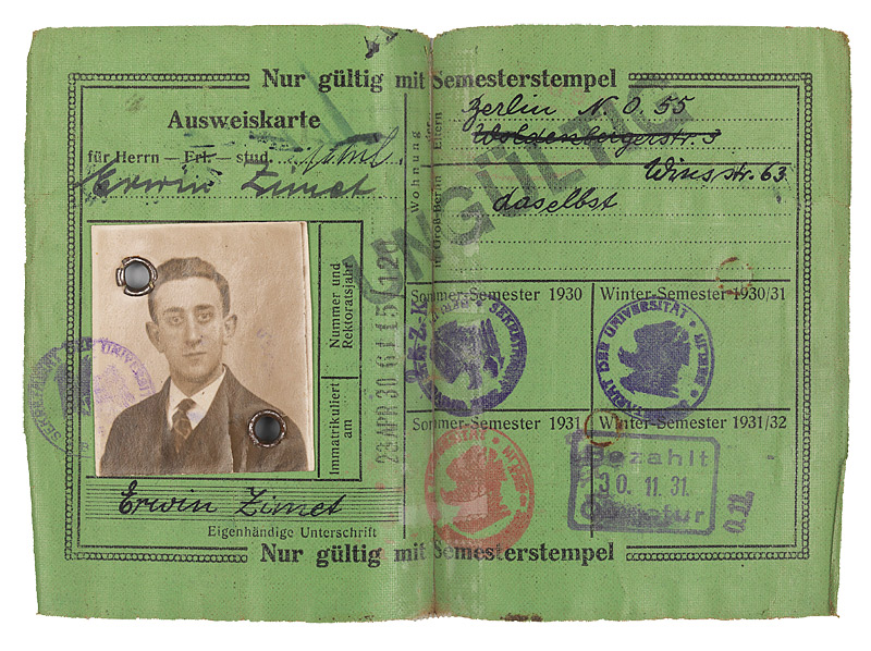 Student identification card issued to Erwin Zimet by the Friedrich