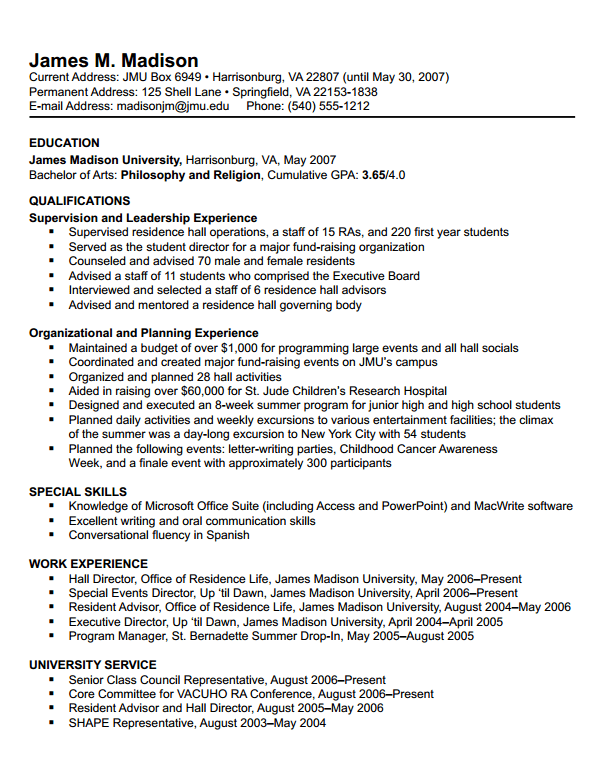 examples of college graduate resumes