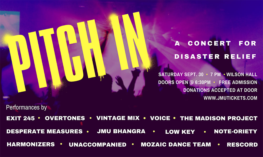 James Madison University - Concert to benefit disaster victims - Disaster Relief Flyer