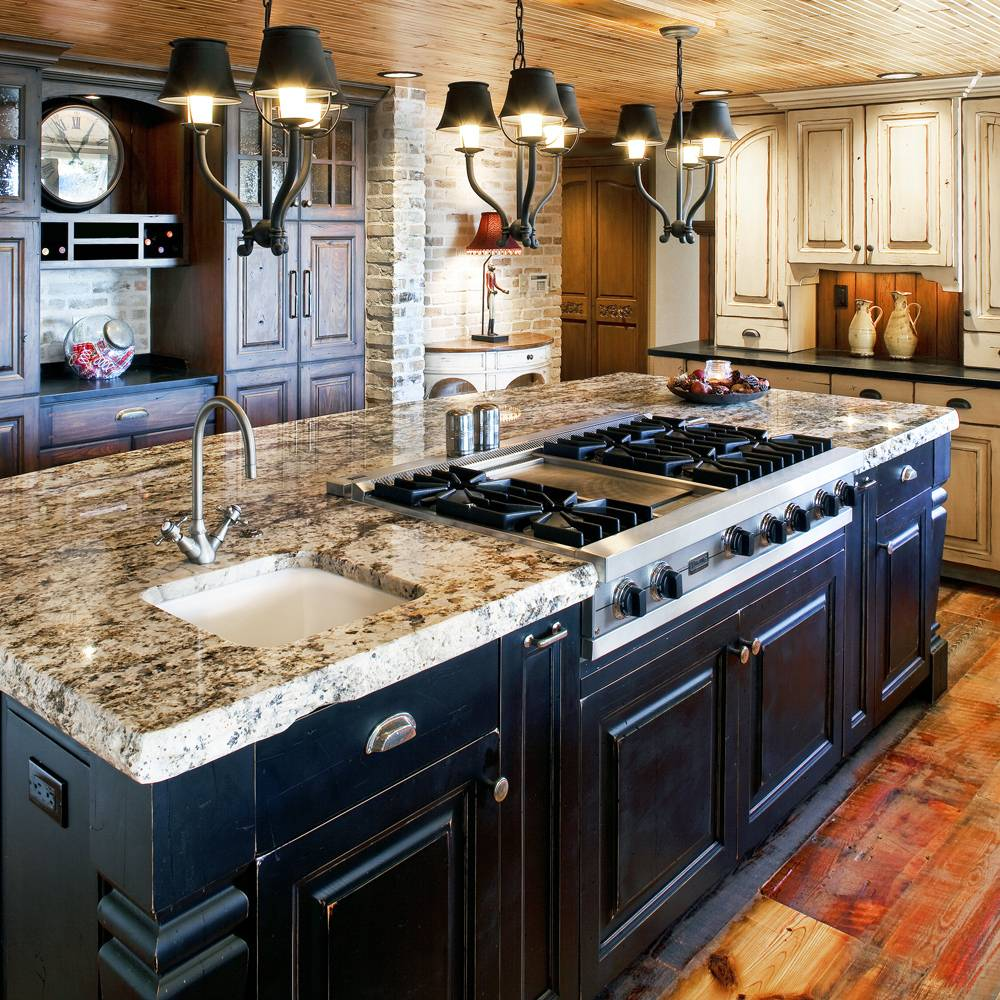 colorado rustic kitchen gallery kitchen sinks denver Colorado Rustic Design with black and white distressed painted wood center island stove and sink