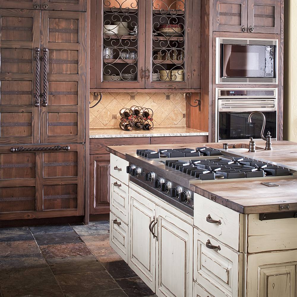 colorado rustic kitchen gallery rustic kitchen cabinets Distressed Wood Cabinets for that Shaker Country Kitchen look