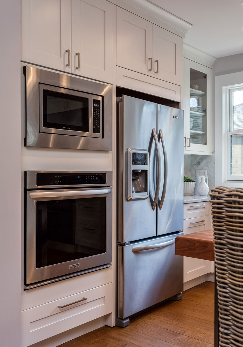 white shaker kitchen cabinets espresso butlers pantry kitchen remodel denver Stainless Steel Appliance Package Denver Kitchen Remodel