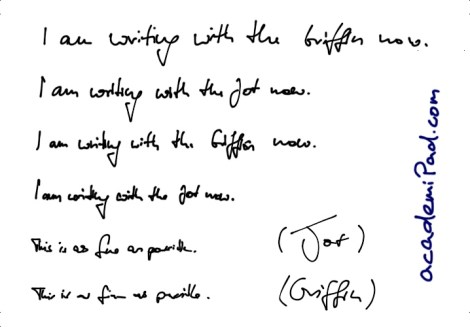 Handwriting example: Jot vs. Griffin