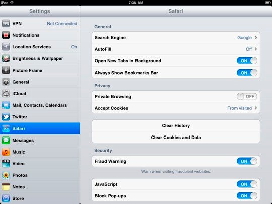 Seven simple tricks to impressively speed up slow ipads speed up ipad clear browser cache ccuart Choice Image