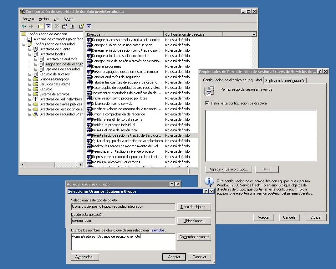 Plantilla 2 de configuración Escritorio Remoto