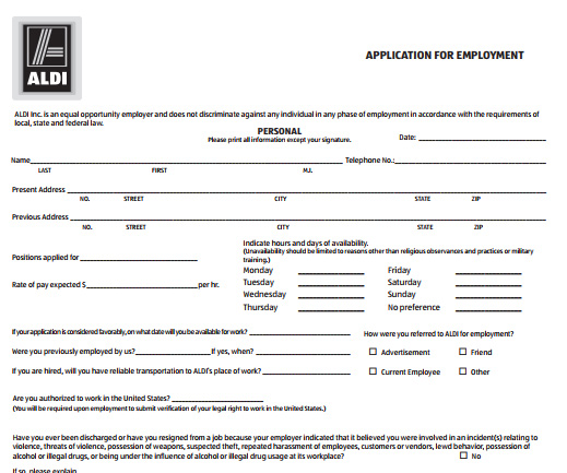 ALDI Job Application PDF Print Out 2018 Job Application Center