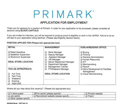 Primark Job Application PDF Print Out 2018 Job Application Center