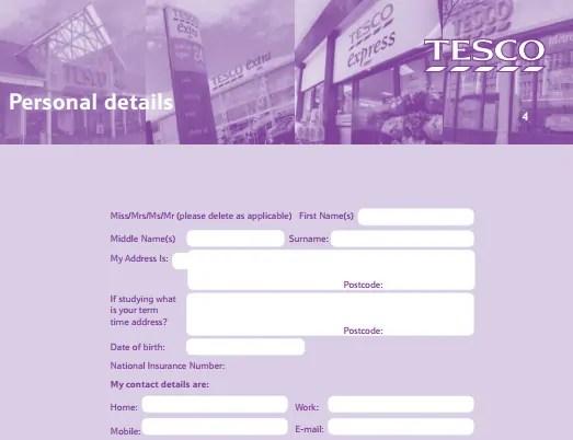 Tesco Job Application PDF Print Out 2018 Job Application Center