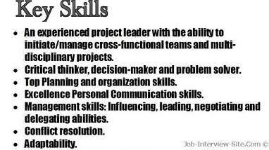 key skills examples for resume
