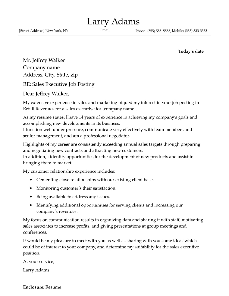 cover letter sales example