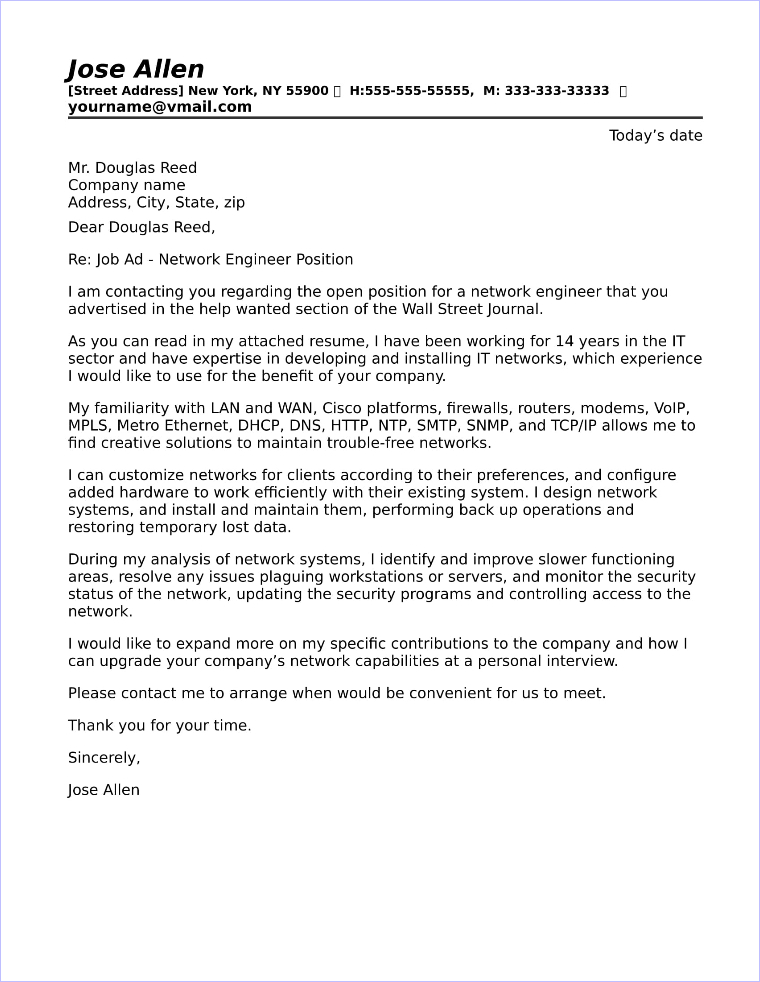 Network Engineer Cover Letter Sample