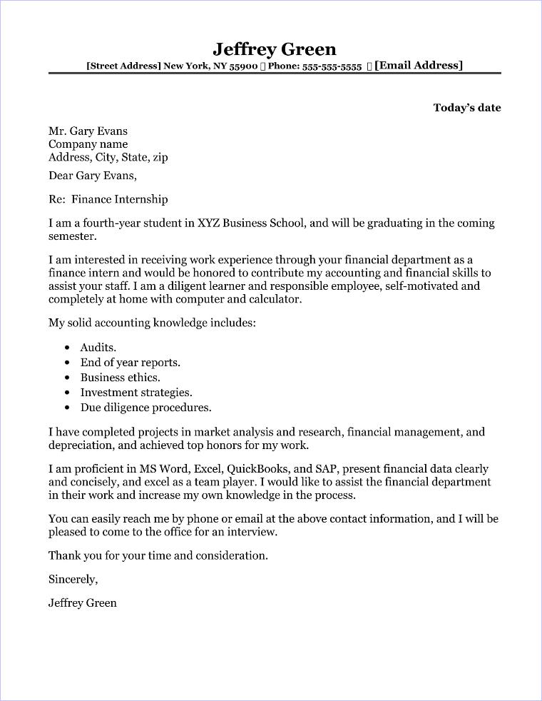 Finance Internship Cover Letter Sample