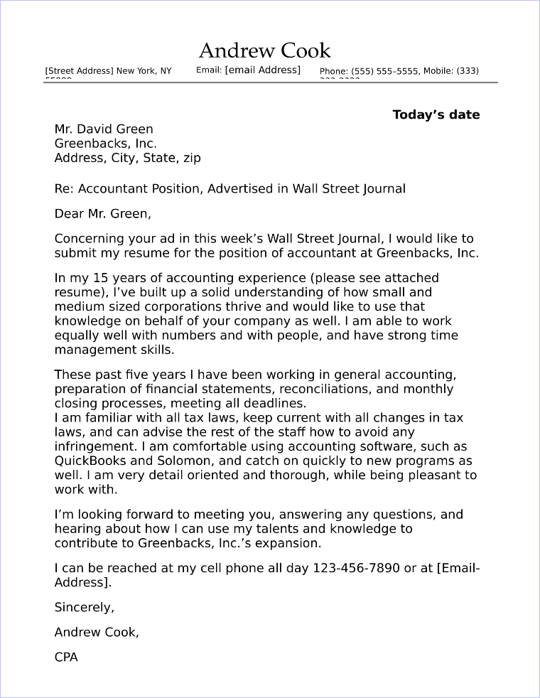 20 Top Accounting  Finance Cover Letter Examples