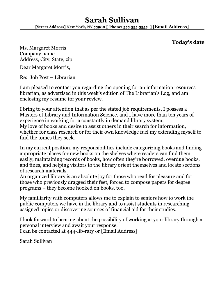 Librarian Cover Letter Sample - library job cover letter