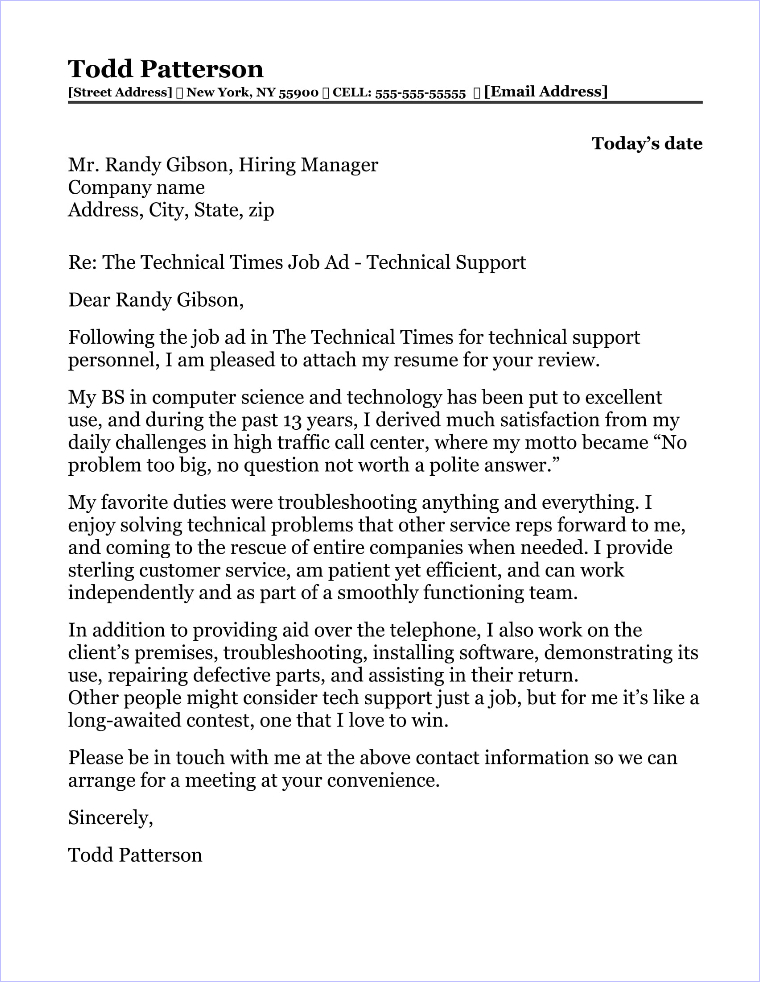 Best 20 Cover Letter Samples for Information Technology Jobs