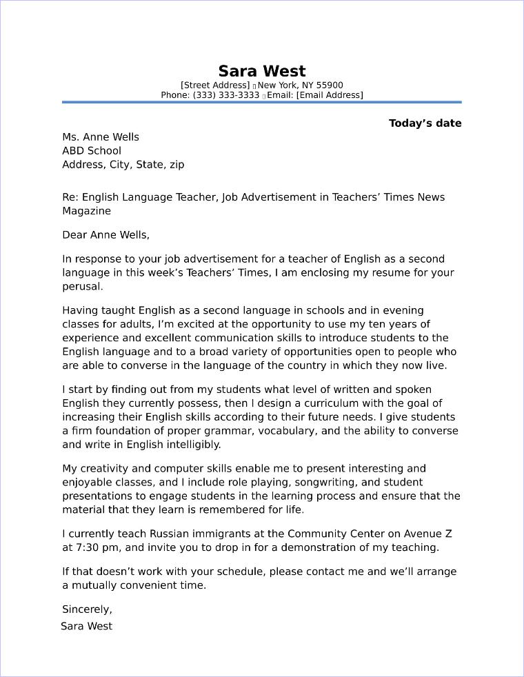 ESL Teacher Cover Letter Sample