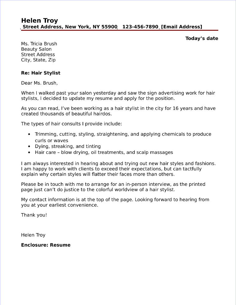 Hair Stylist Cover Letter Sample - hair stylist cover letter