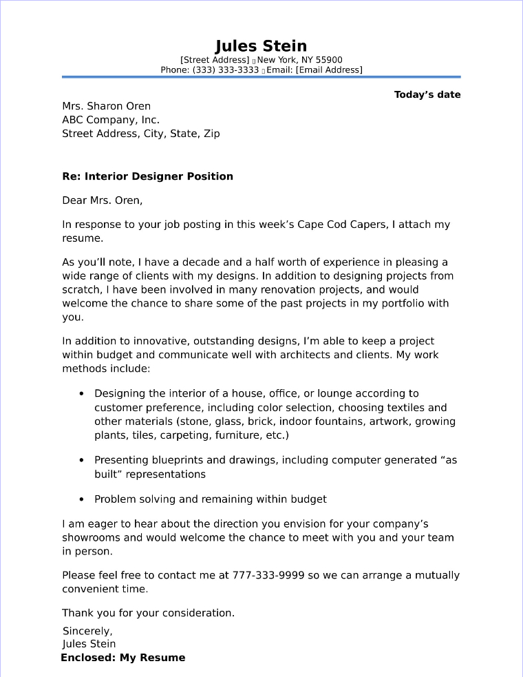sample cover letter for architecture resume