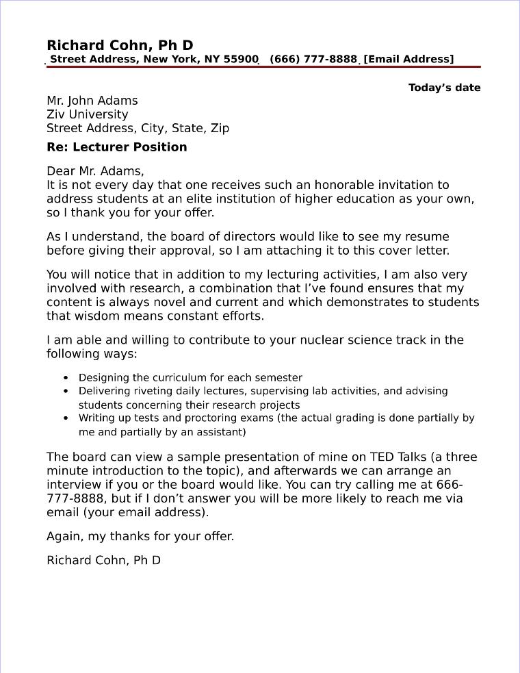 Lecturer Cover Letter Sample