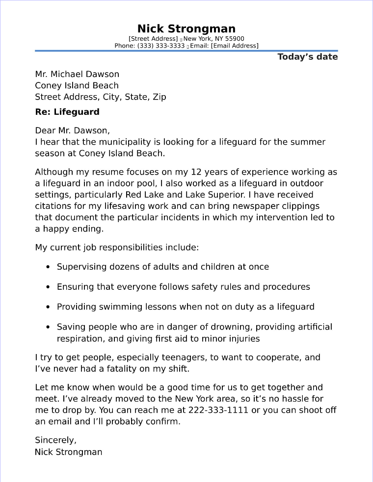 resume cover letter example lifeguard