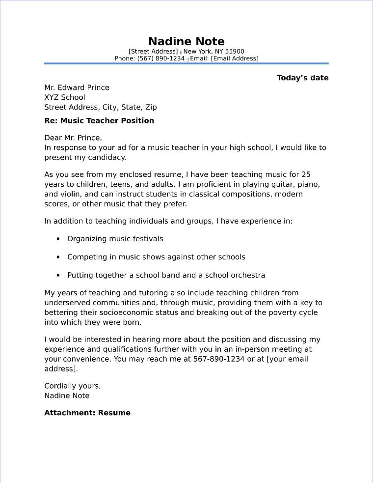 Music Teacher Cover Letter Sample