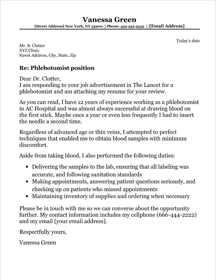 Phlebotomist Cover Letter Sample - Phlebotomist Cover Letter