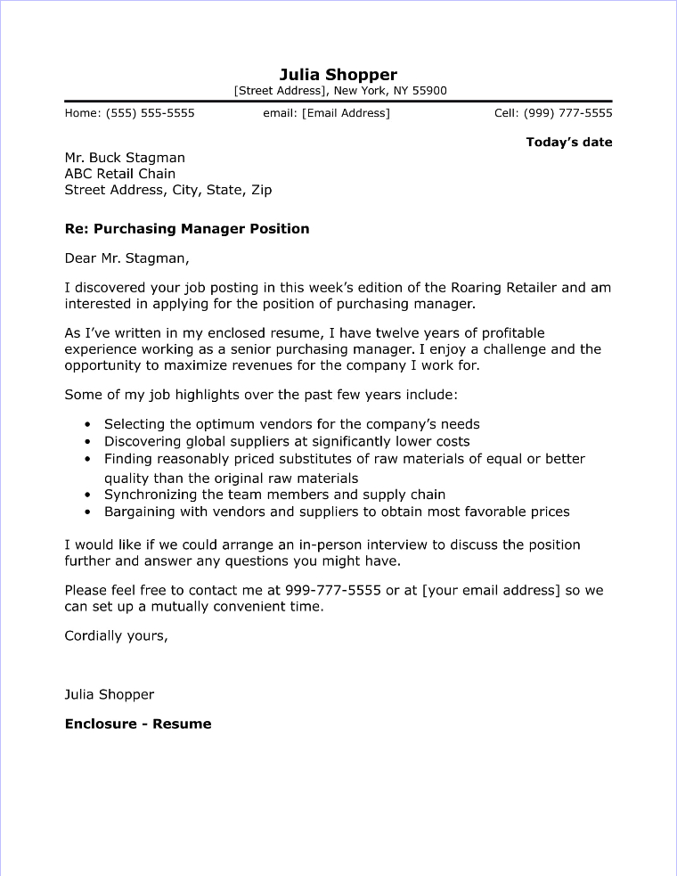 Purchasing Manager Cover Letter Sample