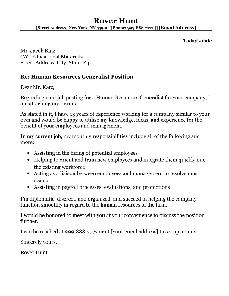 human resources cover letter examples