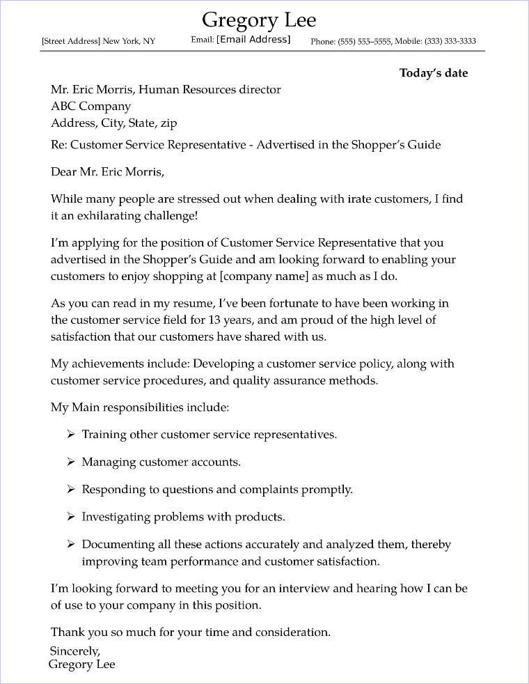 cover letter sample customer service representative