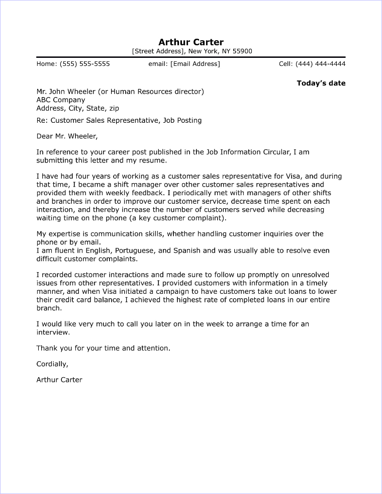 Sales Representative Cover Letter Sample Gallery - letter format - circular clerk sample resume