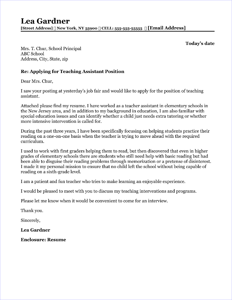 Teaching Assistant Cover Letter Sample