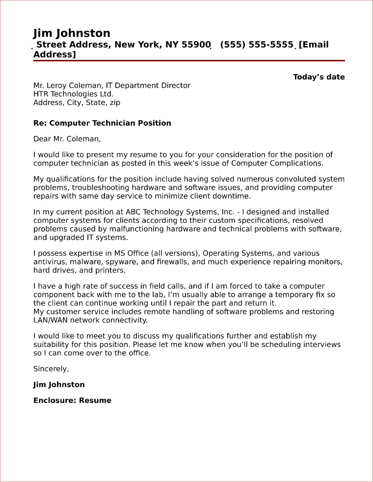 Computer Technician Cover Letter Sample - resume computer technician