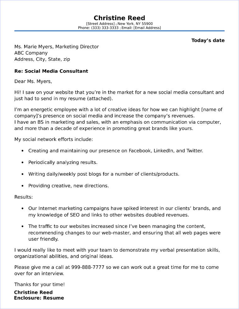 Social Media Cover Letter Sample