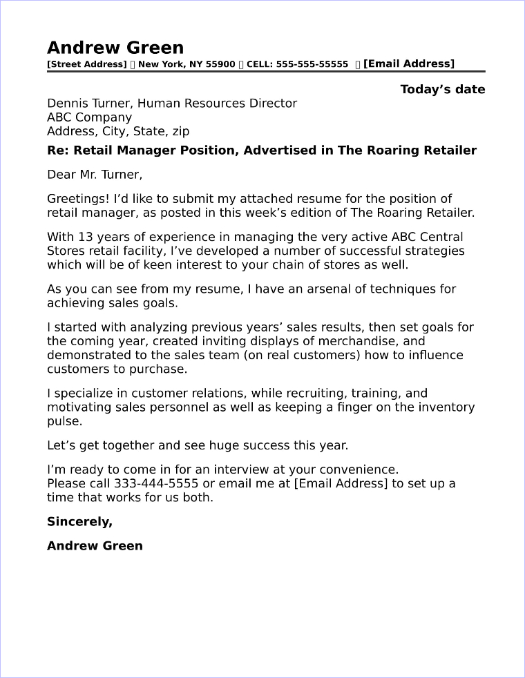 Sales Representative Cover Letter Sample