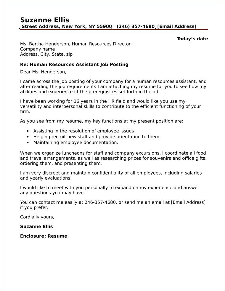 HR Assistant Cover Letter Sample