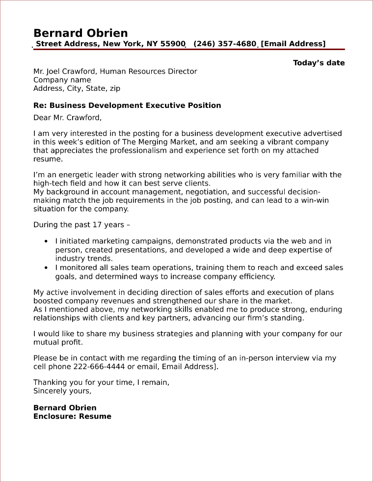 Business Development Cover Letter Sample