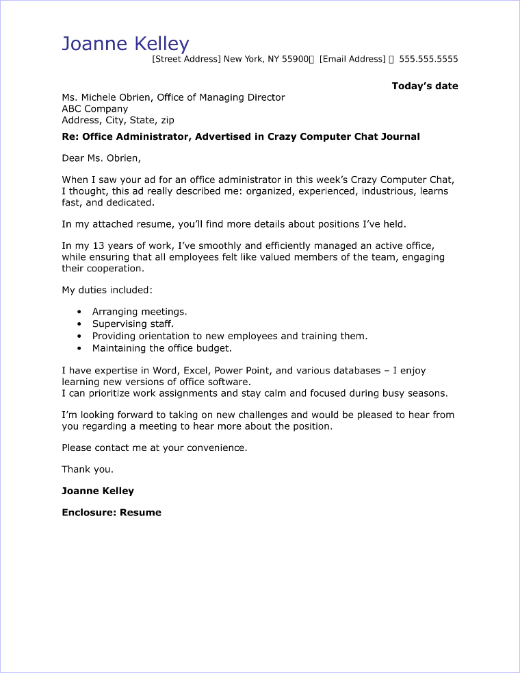 20 Top Cover Letter Samples for Administration and Office Jobs