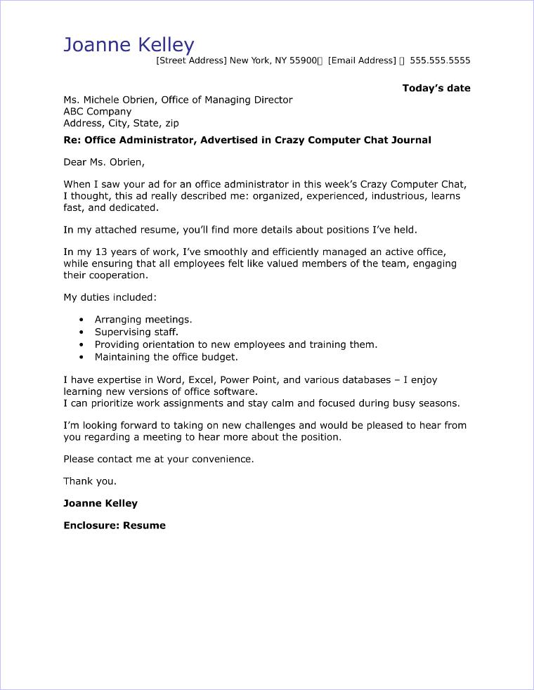 cover letter for admin job