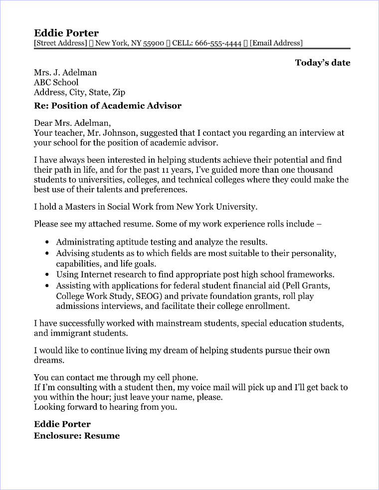 academic cover letter samples